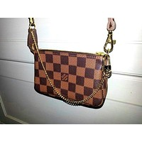LV tide brand female models wild chain hand bag mahjong package Coffee check