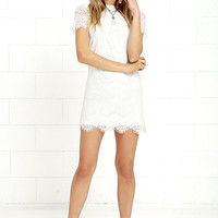 Take Me to Brunch Ivory Lace Shift Dress
