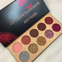 Beauty Glazed glamierres Glitz Glam Eyeshadow Palette 10 Insanely Pigmented Matte Glitter Shades Glow Eye Shadow Pallete Makeup