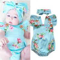 Blue Floral Romper headband Baby Girls Cute ruffles Floral backless Romper One-piece Sunsuit Headband Clothes Set