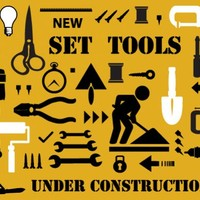 Set of building and electric tools by A | Design Bundles