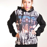 Bring Me The Horizon Punk Rock Hoodie Jacket Biker Sweater Tops Women Girl Sz S,M,L