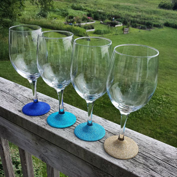 Blue Ombre Glitter Wine Glasses