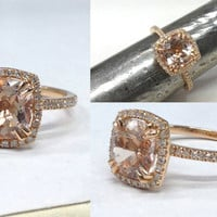 8 CLAWS PRONG 7mm Cushion Cut,Gemstone Halo Engagement Ring 14K Rose Gold!Diamond Wedding Bridal Band,Promise Ring,Design,Custom made rings