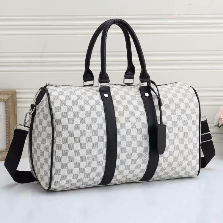 Image of LV LV Louis Vuitton new product full-printed letters men and women large capacity duffel bag White tartan