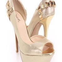 Gold Peep Toe Pump Heels Metallic Faux Leather