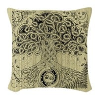 Celtic Tree of Life Ink Burlap Throw Pillow