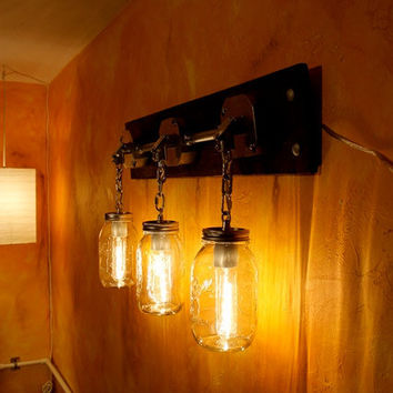 JARS OF LIGHT- handcrafted Mason Jar sconce Lighting with Galvanized Conduit & stained decorative wood base.