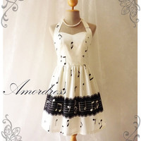 Music Lover - White Dress Music Note Summer Retro Party Cocktail Bridesmaid Birthday Concert Anniversary Event All Party Every Day Dress