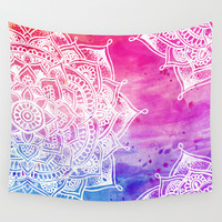 White Mandala on Watercolour Wall Tapestry by Laurel Mae