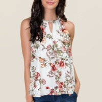 Karin High Neck Floral Tank