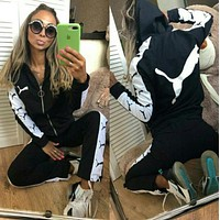 PUMA Women Fashion Long Sleeve zipper Jacket Pants Two-Piece