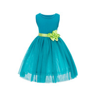 Baby Girl Princess Dress Dreamlike Lake Blue Sleeveless Green Floral Belt Dress Wedding Party Birthday Clothes