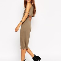 ASOS Midi Dress with Double Layer and Cut Out Side