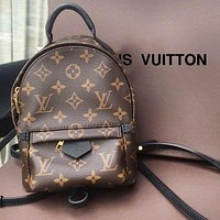 LV fashionable hot sell lady full print patchwork color double shoulder small backpack