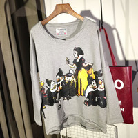 Fairy Tale Cartoon Printed Long Sleeves Loose Top