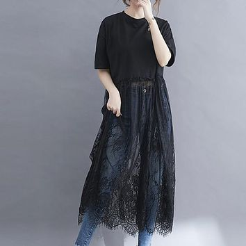 New Lace Patchwork Plus Size O Neck Solid Long Woman Tshirts