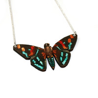 Moth Necklace, Wood Pendant, Illustration Jewelry, Butterfly Necklace, Woodland