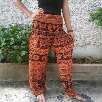 Orange Elephant Print Trousers Yoga Pants From Tribalspiritshop