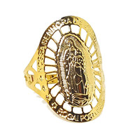 (1-3108-h5) Gold Overlay Guadalupe Ring.