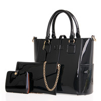 Esnbie Solid Patent Leather Handbags For Women Tkb009