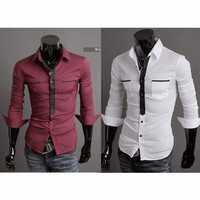 Men Long Sleeve Color Blocking Shirt Faux Tie Button-Down Tops Double Pockets