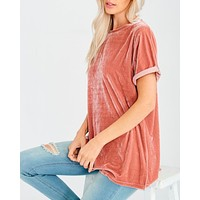 On The Road Velvet Top in Ginger
