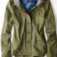 AEO Women's Hooded Military Jacket (Olive)