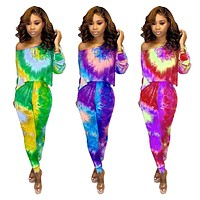 fhotwinter19 hot sale women's sexy tie-dye long sleeve off shoulder two-piece suit