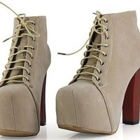 Hot Women Vintage Lace-up Thick Heels Super High Round Toe Ankle Boots Shoes