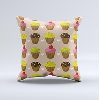Brown Pink and Yellow Cupcake Collage ink-Fuzed Decorative Throw Pillow