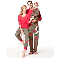 Family Matching Christmas Pajamas Set Women Men Kids Stripe Sleepwear Nightwear