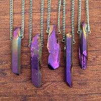 Purple Aura Quartz Necklace