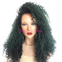 TURTLE Green Ombre Thick Curly Lace Front Wig 24 inch