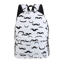 Cool Fun White Mustache Backpack 20-35litre