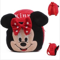 Cartoon Baby Minnie Mouse  Plush Backpacks cute  Mickey Mouse Captain America Stuffed Animals toys girls Backpack School Bag toy