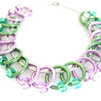Tiny Stitch markers for socks | Lace stitch marker | Dangle|free stitchmarker / Tools for Knitting / purple, green rings & beads | #0515