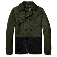 Double Breasted Two-Tone Olive Jacket by Scotch & Soda