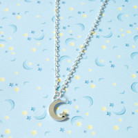 Crescent Moon and Star Charm Necklace