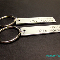 His Nerd Her Weirdo, Keychains for Couples, Custom Initials, Personalized Anniversary Date, Wedding Gift, Hand Stamped Metal, Aluminum