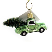 Golden Bell Collection LITTLE TRUCK W/ TREE Ornament Pick Up Nvv094 Green