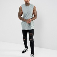 ASOS 3 Pack Longline Sleeveless T-Shirt In Gray Marl/Purple/Gray With Extreme Dropped Armhole SAVE at asos.com