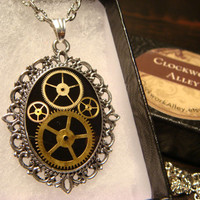 Victorian Style Steampunk Necklace with Watch Part Gears (1813)