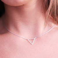 Baby Triangle Charm Necklace in Silver