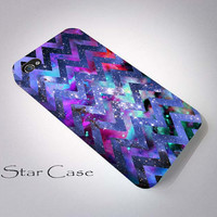 iPhone 4/ 4s and 5 Case - Cell Phone Cover - Galaxy Nebula Chevron iPhone 4 5 Hard Case- Geomteric Aztec Space iPhone Cover - Blue Tribal
