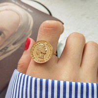 New 925 sterling silver figure coin rings gold fashion personality dollar avatar coin open rings for women gold charms jewelry