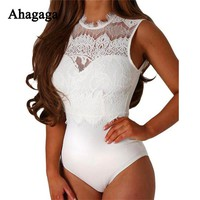Ahagaga 2017 Summer Sexy Lace Rompers Woman Jumpsuits Skinny Sexy V-neck Women Bodysuits Elegant Solid Black White Women Rompers