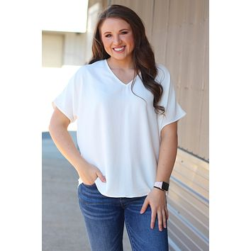 {White} Classic Style V-neck Blouse
