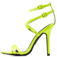 Neon Yellow Strappy Neon Patent Single Sole Heels by Charlotte Russe