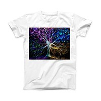 The Inverted Abstract Colorful WaterColor Vivid Tree ink-Fuzed Front Spot Graphic Unisex Soft-Fitted Tee Shirt
